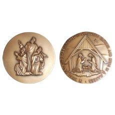 Nov. 1960 Bronze Medal Society Medalists Christmas Nativity Scene Adlai Hardin