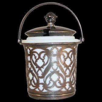 Gorham Sterling Silver Cheese Jar w/ MacLaren's Imperial Cheese Milk Glass Liner