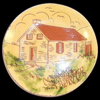 "1985 Breininger Redware 7"" Plate Sgraffito Conrad Weiser Homestead Womelsdorf PA"