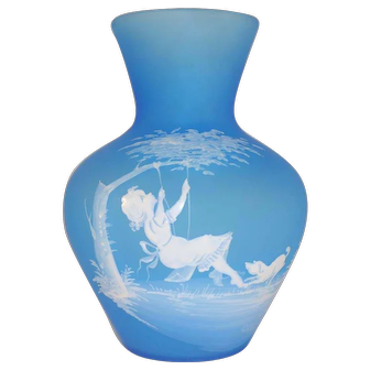1971 Mary Gregory Westmoreland Blue Glass Vase Girl on Swing Dog Signed Steeley