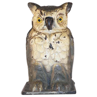 Vintage Cast Iron Painted Still Penny Bank Owl Standing Vindex Toys Belvidere IL