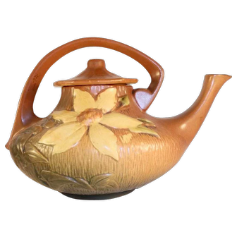 Scarce Roseville Pottery 1940s Brown Clematis Teapot With Lid & Applied Handle