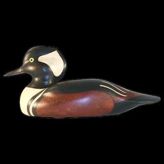 Decorative 1999 Carved Wood Hooded Merganser Drake Duck Decoy by Al Speakman