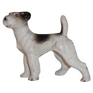 Vintage Cast Iron Paperweight Black and White Painted Miniature Terrier Dog