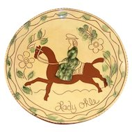 "1994 Breininger Redware 12"" Yellow Charger Sgraffito Woman on Horse Lady Okle"