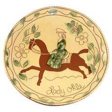 """1994 Breininger Redware 12"""" Yellow Charger Sgraffito Woman on Horse Lady Okle"""