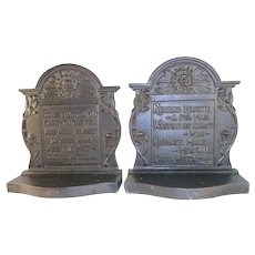 Vintage Heavy Cast Iron Bookends w/ Quotes from Francis Bacon & Samuel Johnson