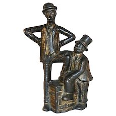 Antique Cast Iron Still Penny Bank Mutt and Jeff Comic Strip Characters