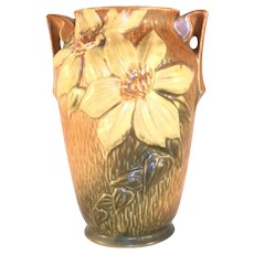 Beautiful Roseville Pottery 1940s Brown Clematis Two Handles Vase 105-7""