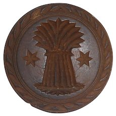 Old Primitive Butter Print Carved Wheat Sheaf Design Knob Shaped Handel