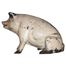 Old Painted Figural Cast Iron Still Penny Bank Pig or Hog Seated on Hind Leg
