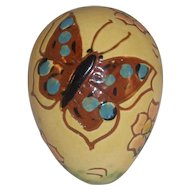 1992 Breininger Glazed Redware Egg Yellow Brown Sgraffito Butterfly Pink Flowers