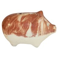 Antique Pottery Still Penny Bank Two Tone Pig Standing w/ Letters & Numbers Mark