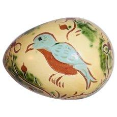 1988 Breininger Glazed Redware Egg Yellow & Brown Sgraffito Blue Bird & Flowers