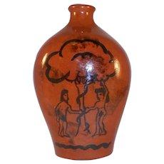1986 Lester Breininger Glaze Redware Flask or Bottle Adam & Eve Slip Decoration