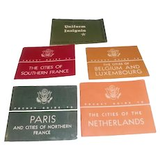 5 WWII Pocket Guides Cities of Netherlands France Belgium & Uniform Insignia