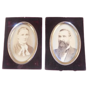 2 Antique Black and White Photographs Man & Woman In Velour & Oval Metal Frame