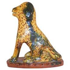 1988 Lester Breininger Glazed Redware Figurine Yellow Green Dog Standing