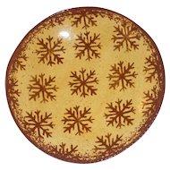 2004 Foltz Glazed Yellow Redware Plate Brown Mottling Slip Snowflakes Decoration