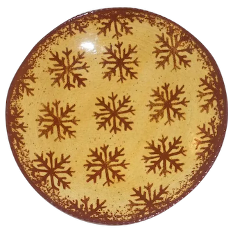 2004 Foltz Glazed Yellow Redware Plate Brown Mottling Slip Snowflakes Decoration