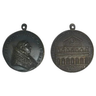 Papal State 1417-1431 Martin V Bronze Medal Old Basilica of St. Peter's