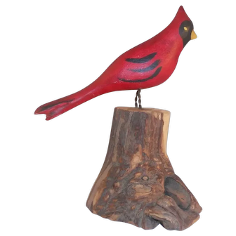 Hand Carved Polychrome Painted Folk Art Red Cardinal Bird Standing on Tree Stump