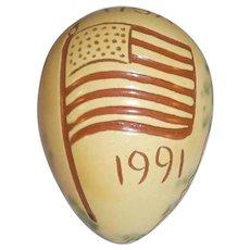 1991 Breininger Glazed Redware Egg Yellow and Brown Sgraffito American Flag