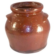 Antique Schofield Lead Glazed Redware Bean Pot Brown Colored Ear-Shaped Handles