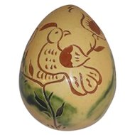 1990 Breininger Glazed Redware Egg Yellow & Brown Sgraffito Distelfink & Tulips