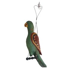 1992 J. Bastian Carved & Painted Wood Folk Art Parrot on Swing Hearts Decoration