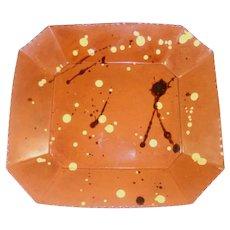 1992 Breininger Redware Rectangular Plate Yellow Slip Spots & Tobacco Spit Decor