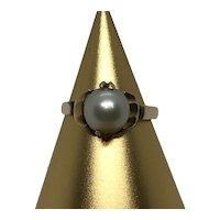18 K Gold Pearl Ring Size 6