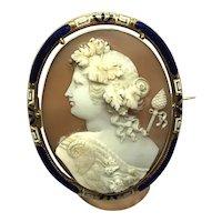 Large Enamel 18k Gold Cameo Brooch Pin