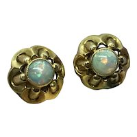 14 K Opal Cabochon Earrings