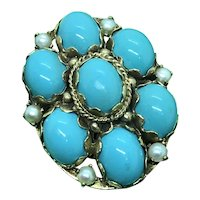14 K Turquoise Pearl Pin Brooch Pendant