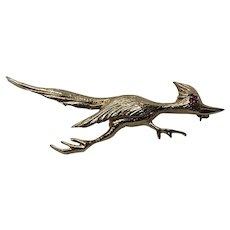 Roadrunner Bird Pin 14 K Gold Figural Brooch