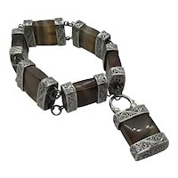 Scottish Agate Silver Heavy Ornate Bracelet 8 inches