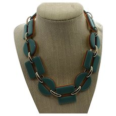Retro Plastic Reversible Yellow and Turquoise Color Necklace