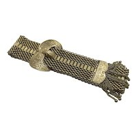 14 K Gold Mesh Buckle Bracelet Vintage with Ball Tassels