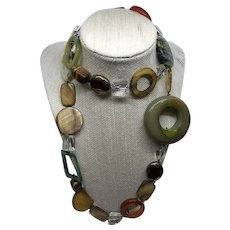 Long Rock Crystal, Agate, Tigers Eye, Shell and More Dramatic  Mixed Stone Necklace