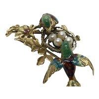 Vintage 18 Kt Gold Enamel Bird Nest Pin Cultured Pearls