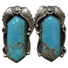 Native American Artist RC Turquoise Matrix Intricate Sterling Earrings