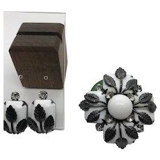 Hattie Carnegie script cartouche Demi-Parure Brooch Pin Earrings  White with Steel Gray Setting