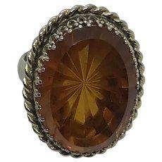 Whiting and Davis Vintage Amber Glass Starburst Cut Ring 6 1/4