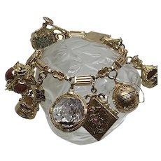 """Heavy Vintage 14 Kt and 18 Kt Charm Bracelet 8 """" Rock Crystal Amethyst"""
