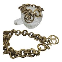 Vintage Bold Chanel Demi-Parure 1993 Spring Collection CC Bracelet and Necklace Rope Design