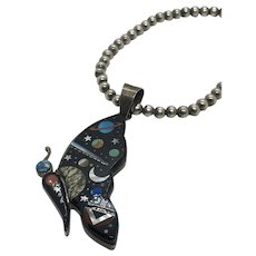 Zuni Astral Style Galaxy Inlay Butterfly Sterling Silver Bead Necklace Pendant Moon and Stars