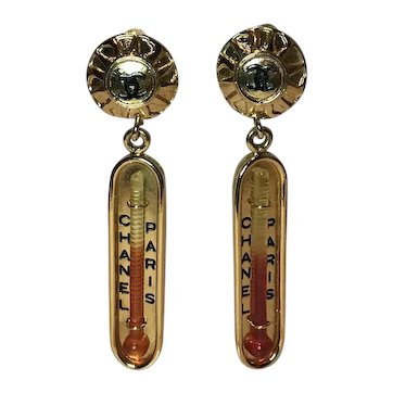 Rare vintage Chanel Thermometer Runway earrings