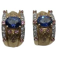 Topaz, Tourmaline, Diamond and 14 K Gold Earrings