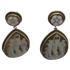 Large Sardonyx Cameo Earrings 3 Graces 14 Kt Quality Carving
